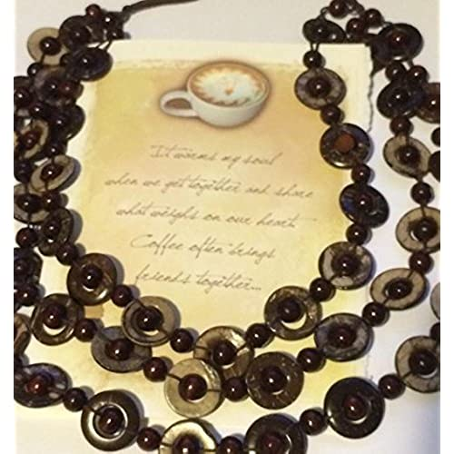 Coffee Friendship Gft Set - Coffee Themed Friend Greeting Card - Multi-colored Brown Tan Neutral Wood Bead Necklace Sales