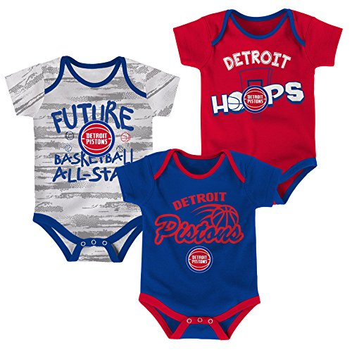 - NBA Newborn & Infant 3 Piece Onesie Set Detroit Pistons-Blue-12 Months