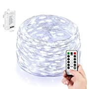 #LightningDeal 86% claimed: Homestarry Battery String Lights PrO 66 LEDs, 16 Ft, Flexible Silver Wire Battery Operated, Waterproof Design with Wireless Remote Control, Cool White, Ultra Thin String Silver Wire for Home Bedroom Party Tree