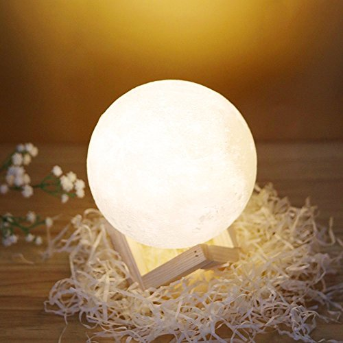 Buy-Treasure Real 3D Printing 3D Printed Moon Lamp LED Night Light Smart Touch Switch LED Bedside Table Lamp Baby Nursery Lamp Desk Lamps for Kid Bedroom Novelty Lights Christmas Gift (5.9Inch)