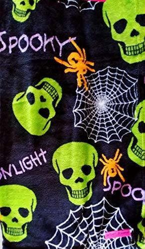 Betsey Johnson Halloween Spooky Boo Candy Skulls & Spider Print - Oversized Ultra Soft Plush Throw Blanket 50 x 70 -