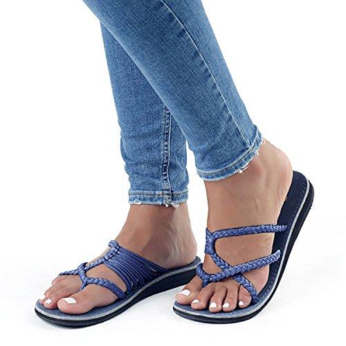 EU Azul de Lueyifs Color para 38 Sandalias Sintético Talla Mujer wzxqBvpSx