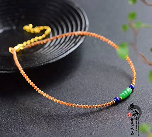 - TKHNE Donghai Crystal Foot Chain anklet natural stone woman orange garnet faceted green Foot Chain anklet with dry stone