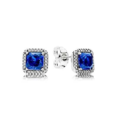 0adfc17ea Amazon.com: Pandora Timeless Elegance Silver & Blue Stud Earrings  290591NBT: Jewelry