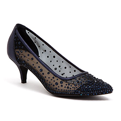 Ladie Navy Blue Rhinestone - LADY COUTURE WOMEN'S RHINESTONE MESH DRESSY SHOES , SILK NAVY 40