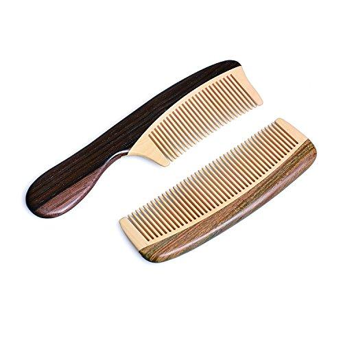 TAN MUJIANG Anti-static Wood Hair Comb Set Natural Wooden Combs Health Hair Care Hairbrush With Handle