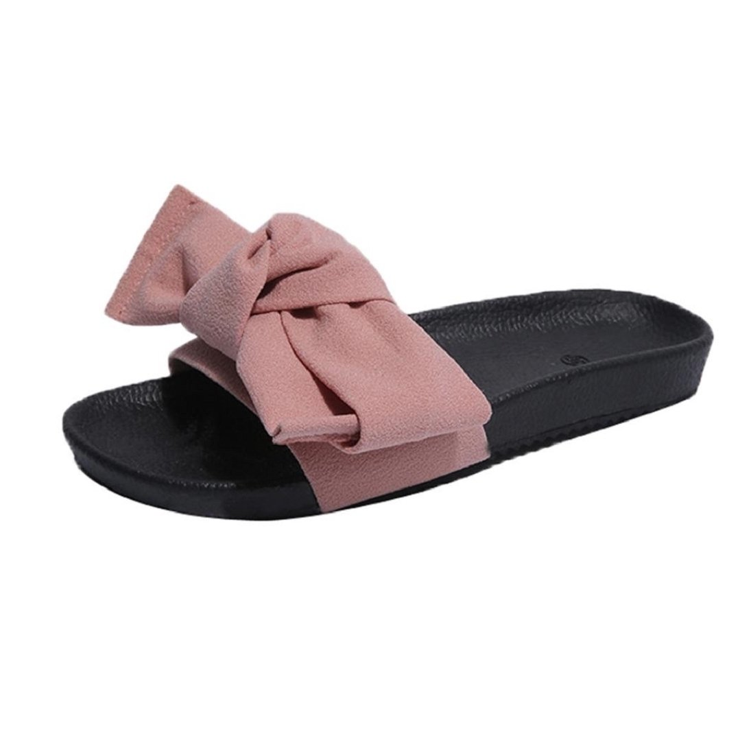Fheaven Women Summer Wedge Sandals Beach Shoes Flip Flops Platform Slippers with Bow (US:7(China size:39 ), Pink)