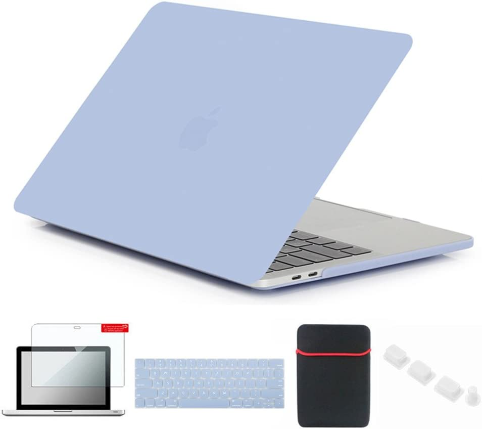 Se7enline MacBook Pro 2016-2018 Cover 15 inch Soft-Touch Matte Plastic Hard Case for MacBook Pro Retina 15 A1707/A1990 Touch Bar with Sleeve, Keyboard Skin, Screen Protector, Dust Plug, Serenity Blue