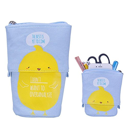 Stand up Pencil Holder Telescopic Pencil Case Transformer Pen Box Cartoon Cute Stationery Pouch Bag Canvas+PU Cosmetics Pouch Stand Store Pen Organizer for Students Boys and Girls (Yellow Duck)