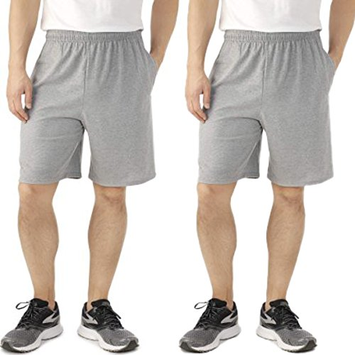 Fruit of the Loom 2 Pack Tagless Mens Shorts with Pockets 9 inch Inseam Athletic Cotton Running Shorts (Fruit Loom Jersey Of The Athletic)