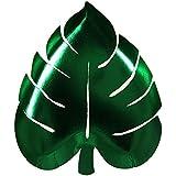 Meri Meri 45-2839 Green Foil Die-Cut Palm Leaf Party Plates, Set of 8