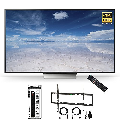 Sony XBR-75X850D 75-Inch Class 4K HDR Ultra HD TV Flat Wall Mount Bundle includes Television, Flat Wall Mount Ultimate Kit and Power Strip with Dual USB Ports