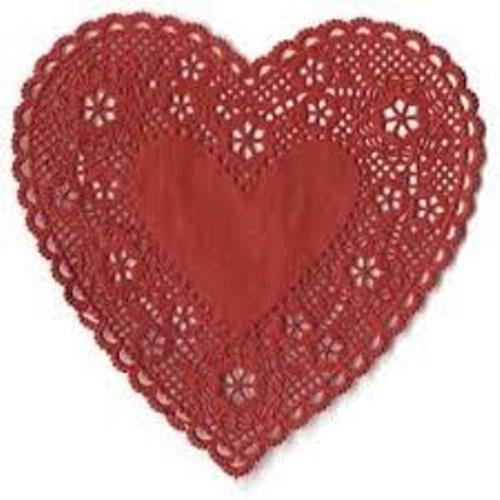 Hygloss 93644 36-Piece Heart Doilies, 4-Inch, Red