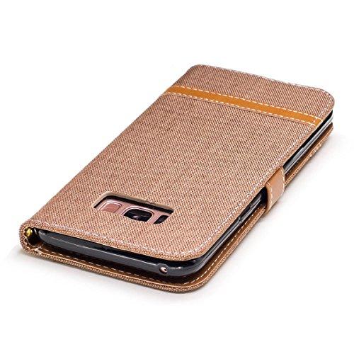 Samsung Galaxy S8 Plus Funda Gris, MEETER Libro PU Cuero Case Con Flip case cover, Cierre Magnético, Función de Soporte, Tarjeta y efectivo titular, Billetera con Tapa para Samsung Galaxy S8 Plus, Col marrón