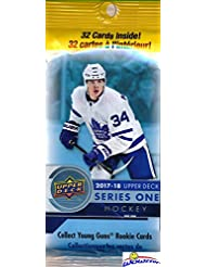 2017/18 Upper Deck Series 1 NHL Hockey HUGE Factory Sealed Jumbo FAT PACK with 32 Cards! Look for Young Gun Rookie Cards of Nico Hischier, Charlie McAvoy, Brock Boeser, Kailer Yamamoto & Many More!