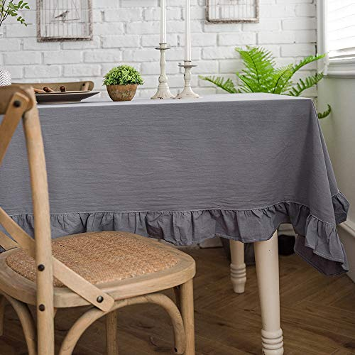 Lahome Rustic Flounces Tablecloth - Cotton Linen Washable Vintage Ruffle Trim Table Cover for Boho Wedding Banquet Tabletop Bridal Baby Shower Birthday Party Decor (Gray, Rectangle - 60