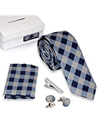 Bundle Monster 4pc Matching Design Pattern Mens Suit Fashion Accessories Set - Checkered Blue