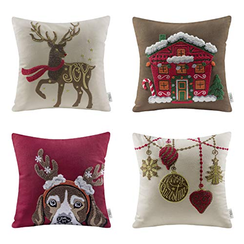 Ashler Merry Christmas Set of 4 100% Cotton Embroidery Reindeer Santa House Throw Pillow Covers 18 x 18 45cm x 45cm