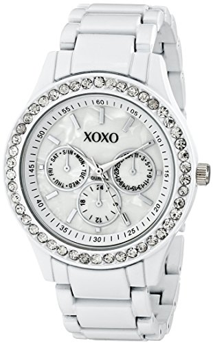 Enamel Watch Bracelet (XOXO Women's XO5411  White Enamel Bracelet With Rhinestones Accent Watch)
