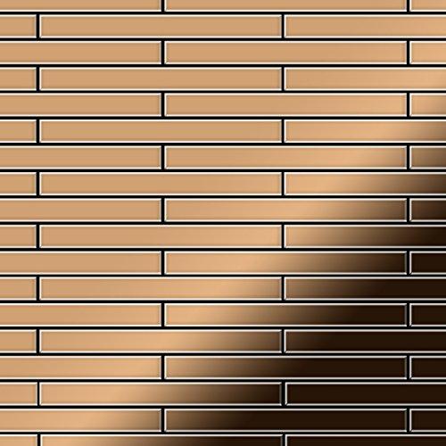 - Mosaic tile massiv metal Titanium Amber mirror copper 1,6mm thick ALLOY Avenue-Ti-AM
