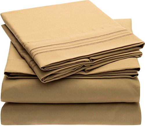 (Bed Bath Outlet 1800 Series Ultra Soft 4 Piece Eco-Friendly Deep Pocket Bamboo Bed Sheets 3 Line Pillow Selection Hypoallergenic and Wrinkle Resistant (Full,)