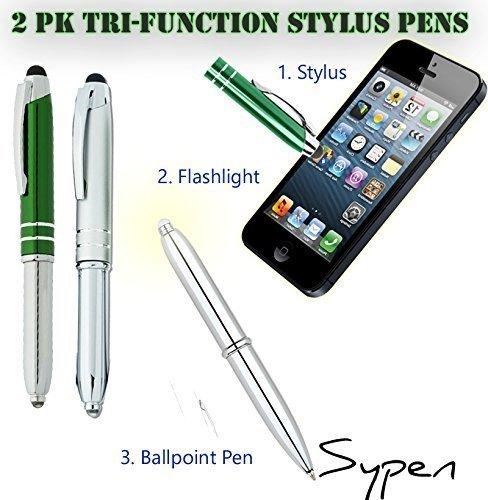 2パックtri-function Stylusボールペン懐中電灯Capacitiveスタイラスは任意のタッチスクリーンIphone、iPad、タブレット& Androidデバイスペン BC24504  レッド/グリーン B00THGSUIW