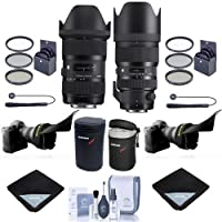 Sigma 18-35mm F/1.8 DC HSM ART Lens with 50-100mm f/1.8 DC HSM Art Lens for Nikon SLR Cameras - Bundle w/2x Filter Kits, 2x Lens Case, 2x Lens Wrap, 2x LensCap Leash, 2x Flex Lens Shade, Cleaning Kit