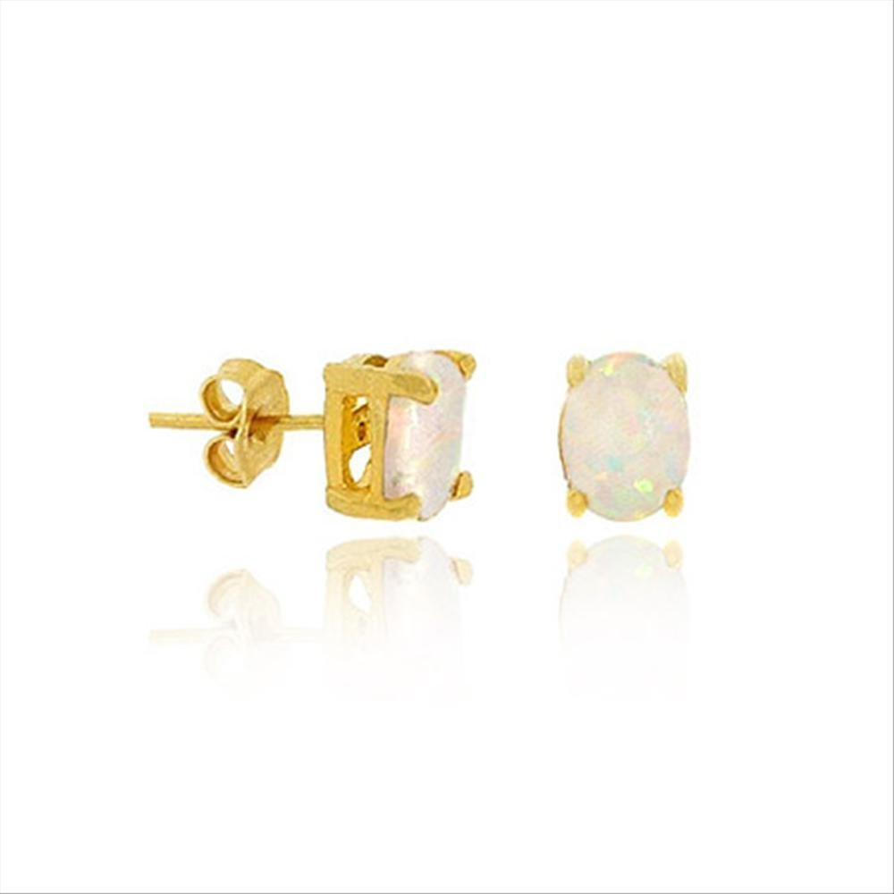 Gold Tone Over Sterling Silver Simulated White Opal 6X4MM Oval Stud Earrings