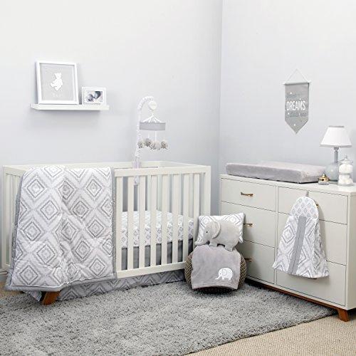 Unisex Nursery (NoJo Dreamer - Grey/White Geo Diamond 8 Piece Comforter Set)