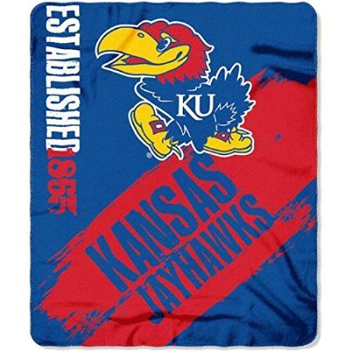 NCAA Officially Licensed Kansas Jayhawks Paint Stripe Fleece Throw Blanket