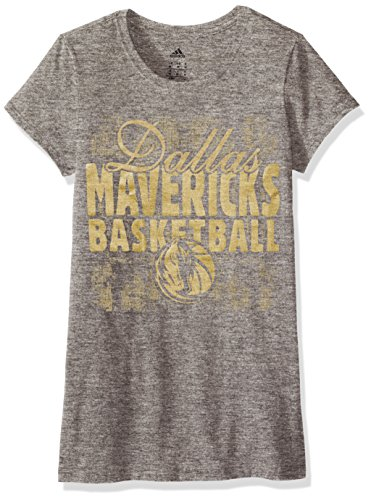 NBA Dallas Mavericks Adult Women Dimple Texture Shine Cap sleeve Tee, Medium, Gray