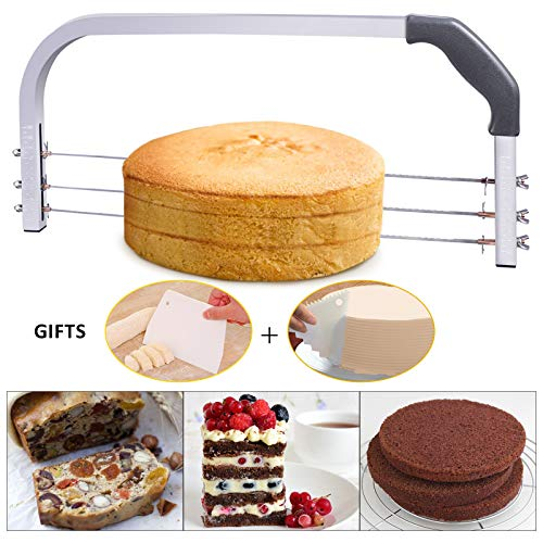 "Bonviee Adjustable Cake Leveler Professional Layer Slicer Cutter 3 Blades Stainless Steel Cut Saw with 2pcs Plastic Scrapers for Baking Tools, 18"" Wide Gray"