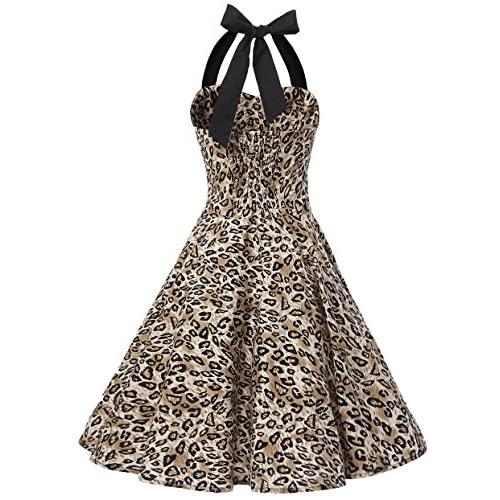 ed4c2598a4cc Tecrio Women Retro 50s 60s Rockabilly Halter Polka Dots Floral Party Swing  Dress new