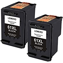 Lemero Remanufactured HP 61XL Ink Cartridge (High Yield,2 Black) with Ink Level Display Used in HP Envy 4500 5530 Deskjet 1000 1512 Officejet 4630 2620 Series