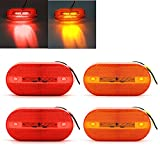 Purishion 4x LED Side Marker Light Front Rear Oval Indicator for Car Boats Truck Trailer (4 Pack) (Amber Red 4)