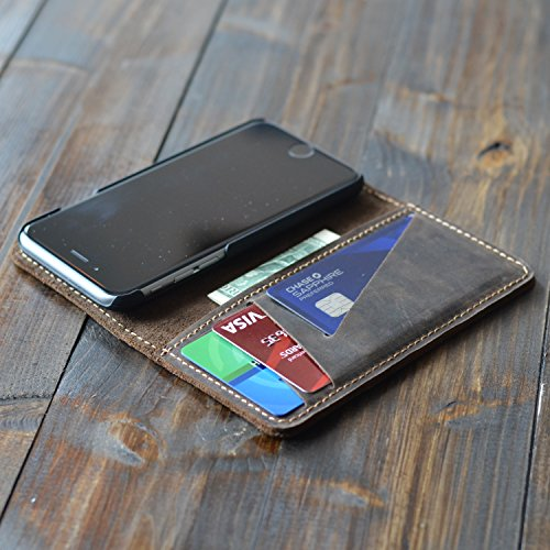 Handmade Distressed Dark Brown Leather iPhone 7 Wallet Case, Leather iPhone Case, Leather iPhone Wallet, Magnetic Easy to Use iPhone Wallet