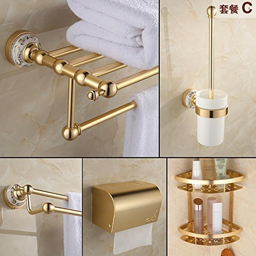 Suit -C The European Media to Aluminum, Bathroom Toilet Toilet Batteries Blond Hanger,Function -F