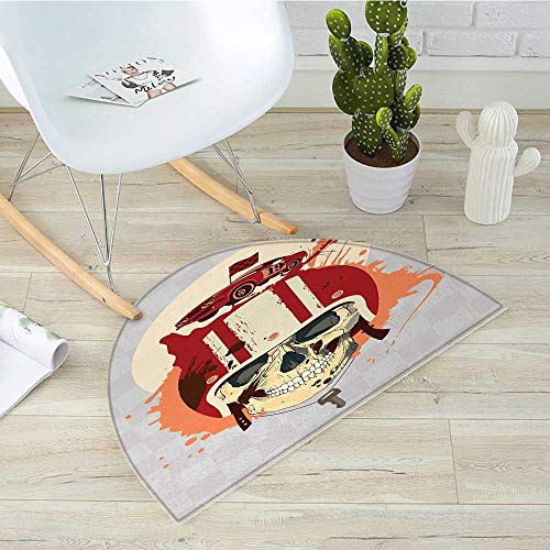 rmat Cartoon Racing Driver Ancient with Dead Competitor Retro Horror Style Graphic Art Halfmoon doormats H 47.2