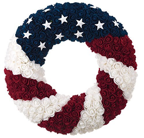 ranspac Silk Rose Americana Wreath, Patriotic Wreath 21 Inch Diameter, Roses and Stars, Red White and Blue 4th of July Decorating ()
