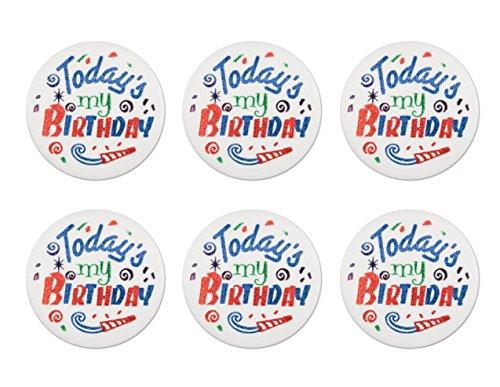 Beistle BN035 6-Pack Today's My Birthday Satin Button, 2-Inch -