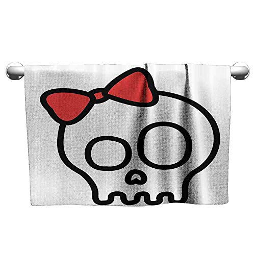 duommhome Skulls Decorations Collection Soft Bath Towel Illustration of Baby Skull Girl with Lace and Halloween Dead Head Teen Emo Art W27 x L55 Red White Black]()