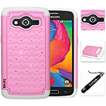 [ Samsung Galaxy Avant / G386 ] ToPerk Luxury Spot Diamond Dual Layer Armor Case + Free HD Screen Protector & ToPerk ™ Stylus Pen As Bundle Sale - Light Pink/White