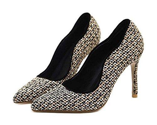Pump 10cm Scarpin Stiletto de tacón alto zapatos zapatos de vestir Mujeres puntiagudas dedo de color Match Lace Ol 2017 otoño nuevos zapatos casuales Eu Tamaño 35-40 ( Color : Black , Size : 39 )