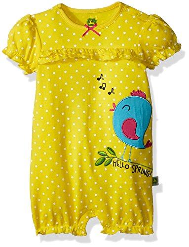 - John Deere Baby Girls Romper, Spring Yellow, 6/9 Month