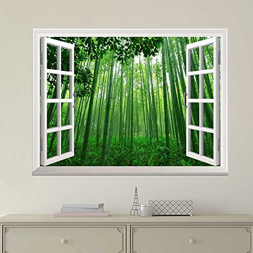 Cheap  wall26 Modern White Window Looking Out Into a Green Bamboo Forest -..