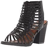 Sugar Women's SGR-Vivid Heeled Sandal, Black Smooth/Black Heel, 8.5 M US