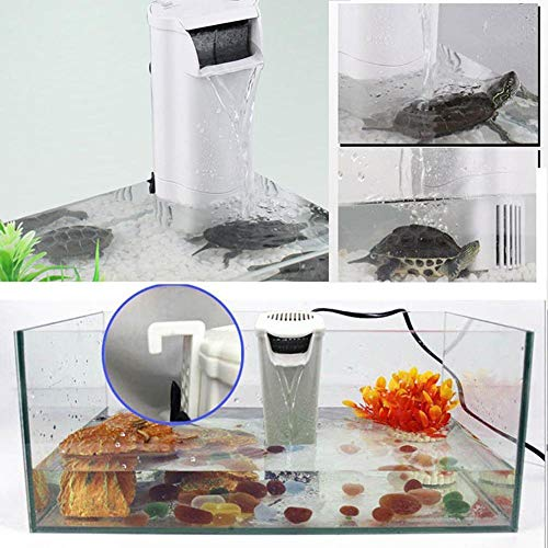 favourall Silencioso pequeño aquarienfilter innenfilter 200L, Acuario Filtro 200 litros Doble Filtro, 3 cm Bajo Nivel de Agua con Ventosa.
