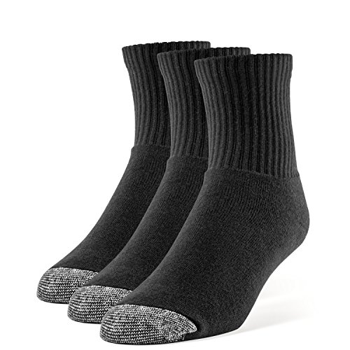 Galiva Men's Cotton Extra Soft Quarter Cushion Socks - 3 Pairs, Medium, Black
