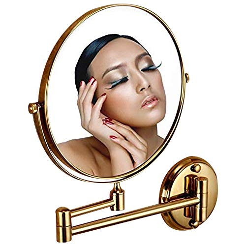 Leyden TM Gold Finish 8-inch Round Wall Mounted 3X Magnifying Make up - Mirrors Bathroom Magnifying Brass