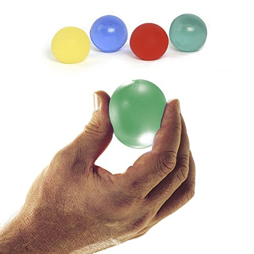 Thera-Band  Hand Exerciser For Hand, Wrist, Finger, Forearm, Grip Strengthening and Therapy, Standard, Assortment, Yellow & Red & Green & Blue, 6 Each by TheraBand